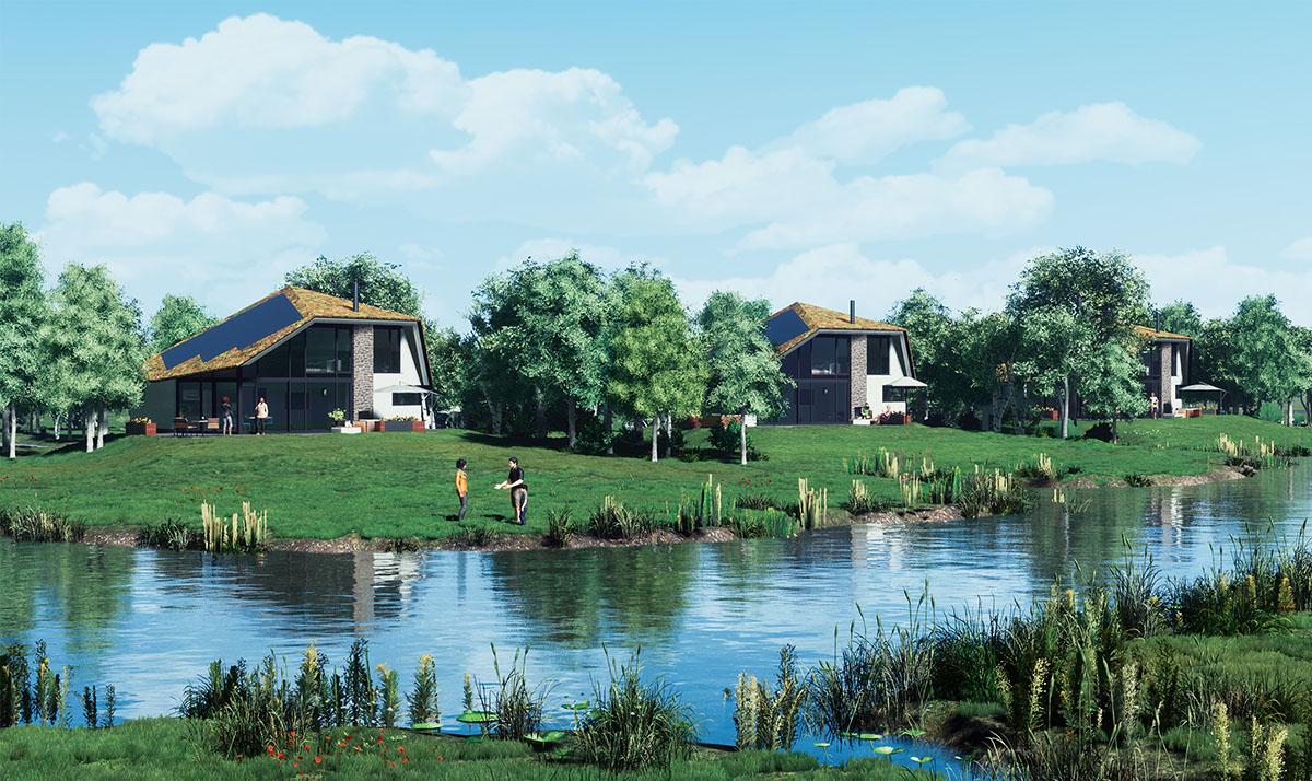 ImpressievanEPS natuurvilla'svanWaalerburght,voorbeeldvanbouwenmetEPS.